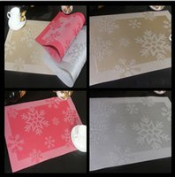 pvc table cloth - 4psc set PVC Christmas Snowflake Placemat Waterproof Kitchen Dinning Placemats Coffee Cup Mats Table Mats Table Cloth