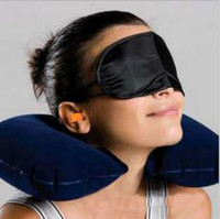 Wholesale Soft Inflatable Travel Flight Pillows Neck U Rest Air Cushion Eye Mask Earbuds Brand New Good Quality