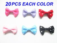 Cheap 120pcs lot Handmade Mini Bows With Printed White Dots Grosgrain Ribbon Bows Decorative Butterfly Ties For DIY Hair Accessories