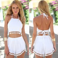 sexy tracksuit - 2015 Women Classic Tassel Halter Outfits Tops and Tassel Shorts White Color Western Fashion Backless Sexy Tracksuits New Arrival Hot Sell