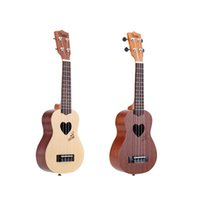 Wholesale KaKa KUS LOVE Strings Soprano Ukelele Durable quot Sapele Ukulele Love Heart Sound Hole with Strap Lock Buttons and Thick Bag