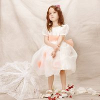 Wholesale Little Girls Fashion Belts - New Fashion 2016 Jewel Short Sleeves Organza Ivory Bowknot Belt Custom made Little Girls Pageant Ball Gowns Flower Girl DressesT006
