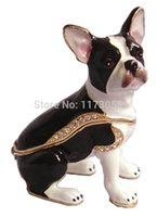 bejeweled boxes - 2015 New Arrivel Rhinestone Boston Terrier Dog bejeweled Enamel Trinket Jewelry Box giveaway gifts home decoration
