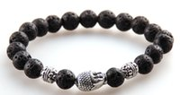 angels stone - m Lava and White Stone Beads Antique Gold And Silver Buddha Bracelets For Men sJewelry