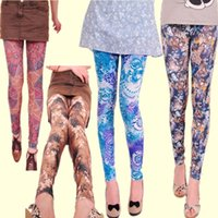 Wholesale 4 Colors Fashion Printed Leggings For Women Girls Colorful Exclusive Flower Patterns PLus Size Casual Summer