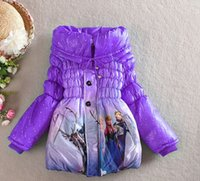Wholesale Cartoon Frozen Elsa Anna Down winter coat Kids thick long cotton padded clothes Jacket Coat outwear Frozen longer jacket for Years