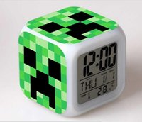 Wholesale 7 Colors Colorful Changing Minecraft digital alarm clock frozen alarm clock LED Change Digital Alarm Clock Minecraft toy
