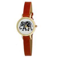 elephant charms - TG614 Charm Women Elephant Watches Golden Dial Analog Quartz Watch Orange PU Leather Band Smart Clock Women Dress Watch reloj