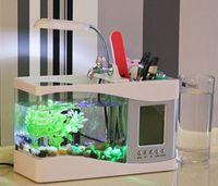 Wholesale Mini USB LCD Desktop Lamp Light Mini Fish Tank Aquarium with Recycled water System LED Clock freeshipping dropshipping