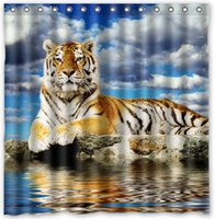 Wholesale Custom Big cats Tigers Water Clouds Animals Fans Printed Size cmx180cm Waterproof Polyester Shower Curtain
