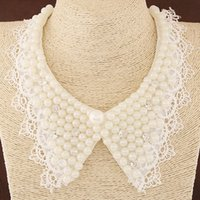 Wholesale European Trendy Fashion Jewelry Pearl Choker Ribbon Statement Crystal False Collar Necklace For Women Dress Up