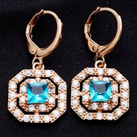 Cheap Gift Box packing Romantic Drop Earrings Rose Gold Plated Square Blue Cubic Zircon Lady Women Drop Earrings