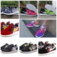 china shoes - New Roshe Run Floral Black Gold Multi Color Men Women Running Shoes For London Olympic Sport Flower China Shoes Discount
