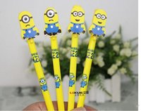 Wholesale Lovely Cartoon Minions Despicable Me Writing Pen cartoon Sign Gel Pen Needle Bling Roller Pen Creative Stationery Children s Toy Study