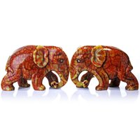 Cheap Roca opening red Jade elephant ornaments Auspicious Choi Yun enrichment modern home decoration crafts