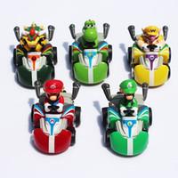 Wholesale Super Mario Kart Pull Back Car Figures toy portfolio pvc toy plastic doll Kart set