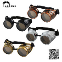 Wholesale high quality Unisex Vintage Style Steampunk Goggles Welding Punk Gothic Glasses Cosplay Colors