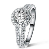 Wholesale 1 Ct Princess Cut Created Diamond Solid Sterling Silver Engagement Bridal Ring engagement diamond rings