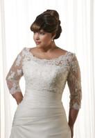 Wholesale 2017 Hot Plue Size Bridal Shawl Wrap Free Custom Made Lace Bridal Jacket Bolero Wedding Wraps Three Quater Sleeve Elegant