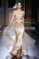 Cheap Sparkling Elie Saab Long Evening Dress With Gold Appliques Sequins Champagne Off Shoulder Mermaid Cut Out Prom Dress 2015