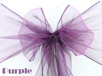 Home Organza Fabric  50PCS lot 18*275 cm Organza Chair Sashes Bow Cover Banquet Wedding Party Decorations Purple Colors