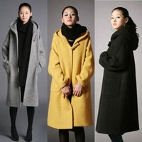 Wholesale High Quality Womens Long Wool Blend Coat Hooded Loose Thick Jacket Winter Warm Cloak Parka Overcoat