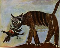One Panel art cat gallery - modern art gallery Cat catching a bird Pablo Picasso painting High quality Hand painted