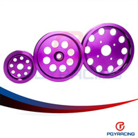 Wholesale PQY STORE new Light weight crank pulley New FOR Nissan GTR BNR32 RB26DETT RB20 RB25 Underdrive Light weight crank pulley Purple new