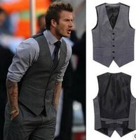 Wholesale Beckham series of men s leisure suit Vests wedding high end party man suit vest black grey blue joker fashion waistcoat hight quality free s