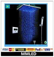 Wholesale Led Auto Thermostat Control Shower Set SUS Auto Digital Thermostat Control Ultra thin quot Shower Head Set
