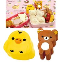 Wholesale Cut Relax Bear and Yellow Bird Cookie Sandwich Cheese Ham Cutter Rice Sushi Egg Mold Mould ZH266