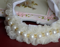 bead necklace mardi gras - Pearls Crystals Pet Necklaces Plastic Beads Elastic Lace Pleated Dog Necklace Fashion Dogs Cat Apparel Princess Supplies Beige J4841
