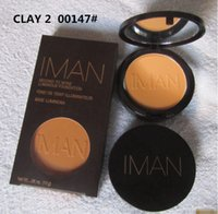Wholesale IMAN Foudation Luxury Pressed Powder IMAN Clay Earth Makeup Foundation Powder Makeup Face Pressed Powder Colors DHL