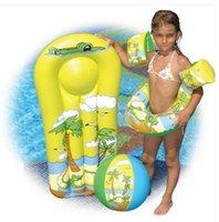 Wholesale 4pc set Kids Swimming Set Swim Ring Arm Floating Ring Kickboard Water Globe Suit