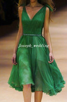 Wholesale Cocktail Party Dress Deep V Neck Emerald Green Beaded Pleated Chiffon Knee Length Cheap Homecoming Gown JW175