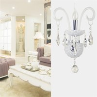 Wholesale Hot sale White Modern Crystal Wall Light Lamps Light Fixture Candle Sconces Vanity Lighting Modern Lamp