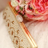 Wholesale Gold Wedding Bridal Hand Bags for Party Prom Evening Clutches Purse Real Image Rhinestone Crystal In Stock No Risking