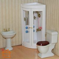 bathroom shower cabin - 1 doll house furniture mini cabin bathroom shower toy play house Toilet culvert wash Parur Cuarto de ducha Casa de boneca