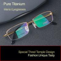 Wholesale 2016 new men pure titanium glasses frame half rim optical frame fashion business models RS960 gold grey reading clear glasses