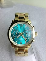 1 - Fashion Michel Kors Watches Women Luxury Brand Aqua Dial Stainless Steel Gold Women Watches Color With Logo