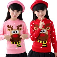 Wholesale 2015 Christmas Snow Elk Red Cotton Bottoming Warm Sweater Girls More Double Knitting Unlined Upper Garment Of Children s Clothes