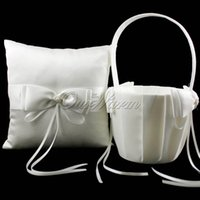 Wholesale 2Pcs Set Ivory Satin Ring Pillow Flower Basket with Bow Ribbon for Wedding Decorations Bridal Party