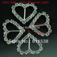 Wholesale 1 cm silver heart rhinestone buckle heart buckle and invitation buckles pieces