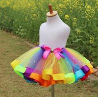 Wholesale Cheap Colorful Baby Girls Rainbow Tulle Tutu Skirts Petticoats Children Performance Costumes Ball Gown Half Skirt Children s Skirts