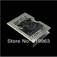bicycle playing cards lot - The Thicken Bicycle Playing Cards Clip brushed metal Magic trick stage magic props comedy card close up mentalism