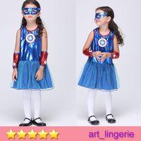 Wholesale 3 Years Girls Superhero Avengers Cosplay Costume Halloween Child Blue Cosplay Costume Captain America Girl Version Suits EK112