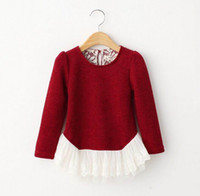 girls long sleeve shirts - 2015 Autumn New Children Clothes Girl Sweater Lace Bottom knitting Wool Plain Long Sleeve T Shirts Y