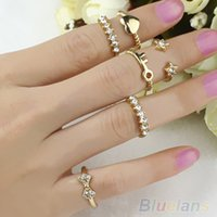 Wholesale 7pcs Gold Plated Bowknot Heart Finger Ring Set Crystal Midi Band Rings JYQ