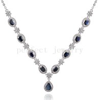 Wholesale Necklace Natural real sapphire sterling silver plated k white gold Perfect jewelry Gemstone necklace DH