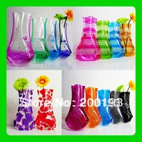 Wholesale Hot Factory Outlets big size W18cm H27cm Foldable plastic vase Random send various styles
